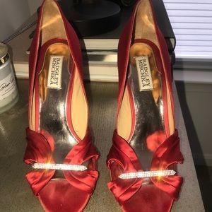 Badgley Mishka open toe satin pumps size 9